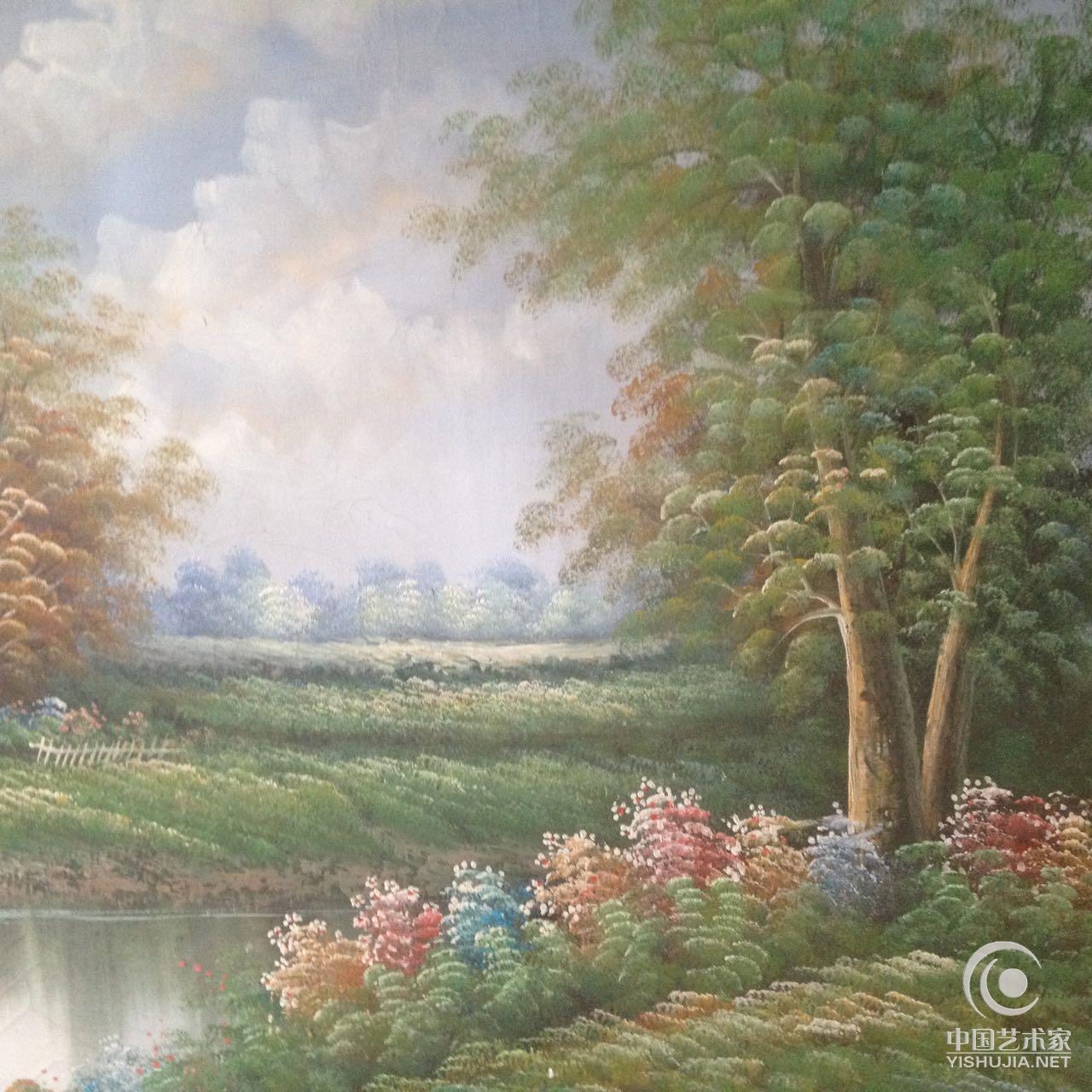 作品题材以人物,风景油画为主,兼长国画.