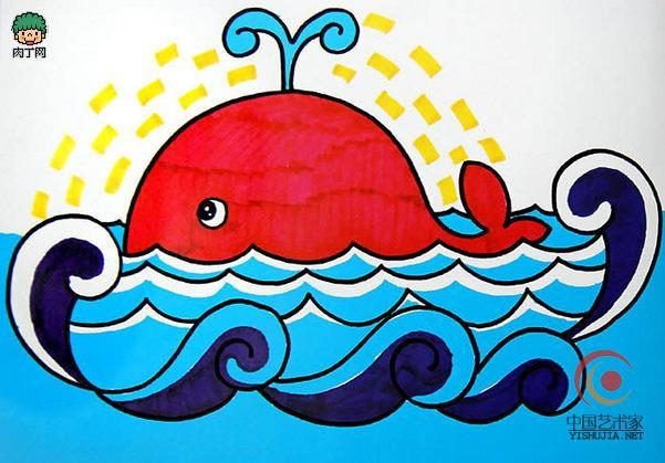 彩笔儿童画图片作品欣赏《喷水的鲸鱼》