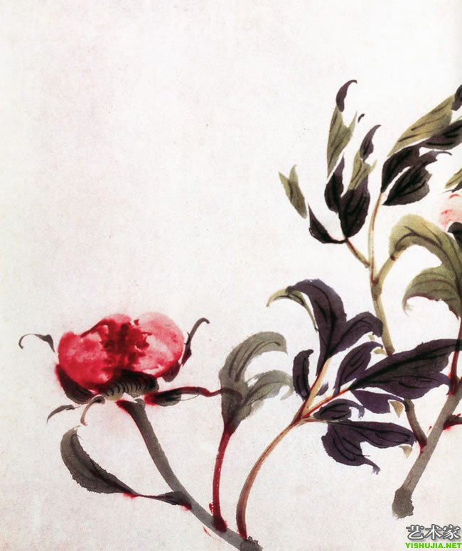 此卷画有牡丹、芍药、萱花、月季、荷花、菊花、秋葵、水仙、萝卜、茄子、扁豆、西瓜、桃等花果。造型窈窕,叶飞花舞。用笔简练概括,设色艳丽典雅,形神兼备,气韵生动。特别是牡丹、芍药,笔墨不多,风姿绰约,生动逼真。墨荷笔厚重,墨汁淋漓。西瓜用墨饱满,瓜汁欲滴,笔墨功力深厚,堪称佳作。(下图为局部)