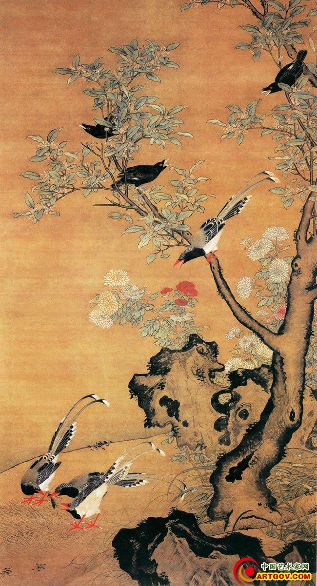 此图画一株高大的桂花树枝干苍健,花叶